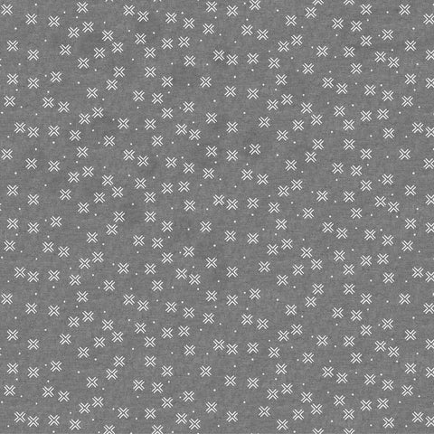 Figo Harmony Linen/Cotton blend - Crosses in Grey