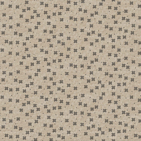 Figo Harmony Linen/Cotton blend - Crosses in Neutral