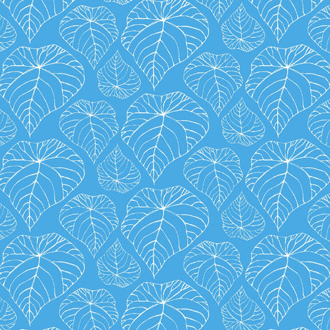 Ivory Woods -Palm Fronds on Blue