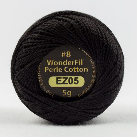 Wonderfil Eleganza Perle Cotton 8wt. - Licorice 5