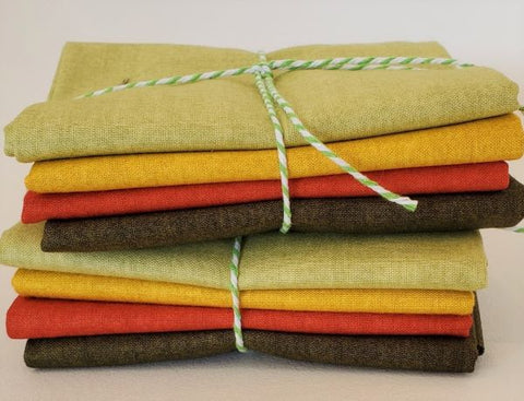Designer Bundle - Linen Texture FQ Bundle 4 x FQ - Fall Colours