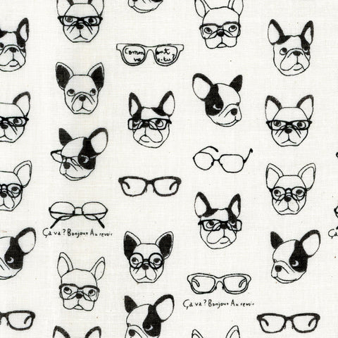 Kokka Double Gauze - French Bulldogs