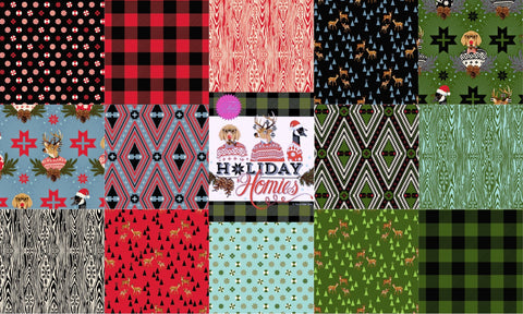 "Designer Bundle - ""Holiday Homies"" quilting cotton 14 x FQ"