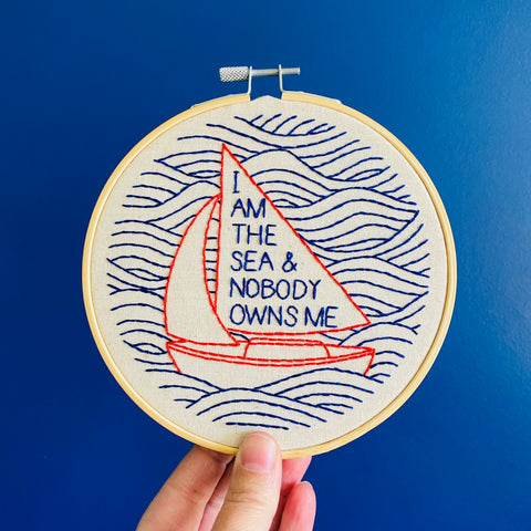 Hook Line & Tinker Embroidery Kit - I Am The Sea