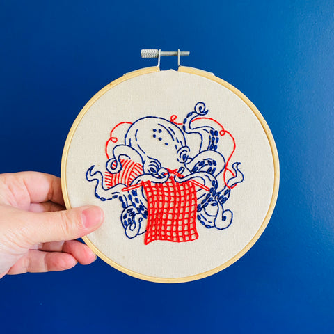 Hook Line & Tinker Embroidery Kit - Industrious Octopus