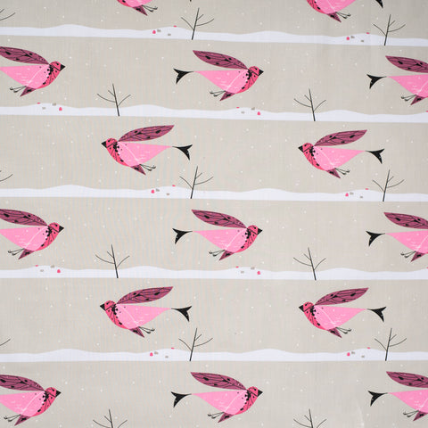 Charley Harper Organic Cotton - Winter Wonderland - Purple Finch Poplin