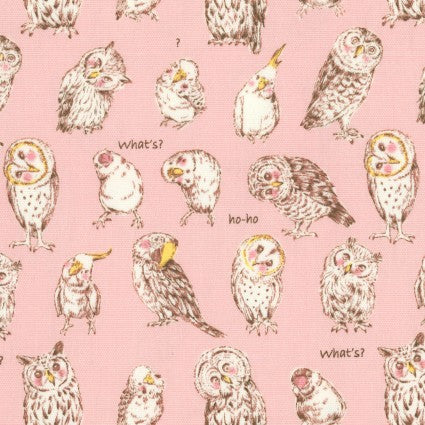 Kokka Oxford Cloth - Funny Animals in Pink
