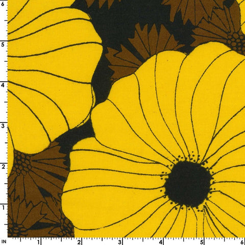 Kokka Retro Flower Cotton Sheeting - Border Print Yellow and Black