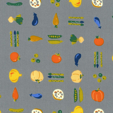 Kokka Small Vegetables Cotton Sheeting - Grey