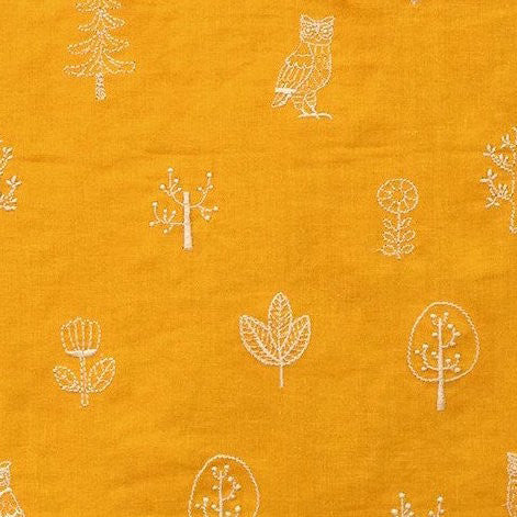 Kokka Embroidered Double Gauze - Yellow