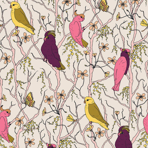 PBS Fabrics - Cockatoos, Peaches and Pears - Cockatoos