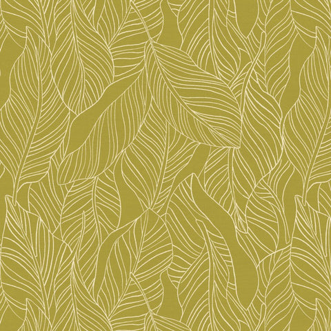 PBS Fabrics - Lisbon Love - Leaves in Olive Green