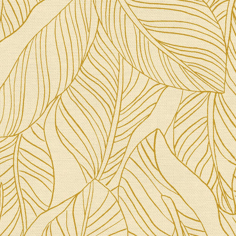 PBS Fabrics - Lisbon Love - Leaves in Gold