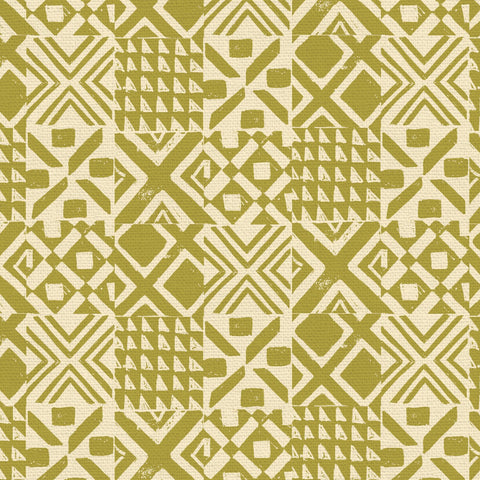 PBS Fabrics - Lisbon Love - Tiles in Olive Green