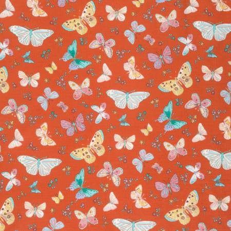 Butterfly Garden Fabric Dena Designs - Butterfly Toss Red