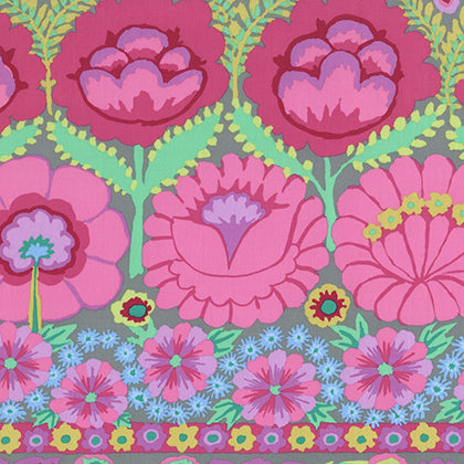 Kaffe Fassett Artisan - Embroidered Flower Border - Pink