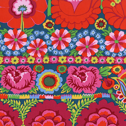 Kaffe Fassett Artisan - Embroidered Flower Border - Red