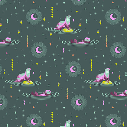 Tula Pink Spirit Animal - Otter and Chill in Lunar Glow