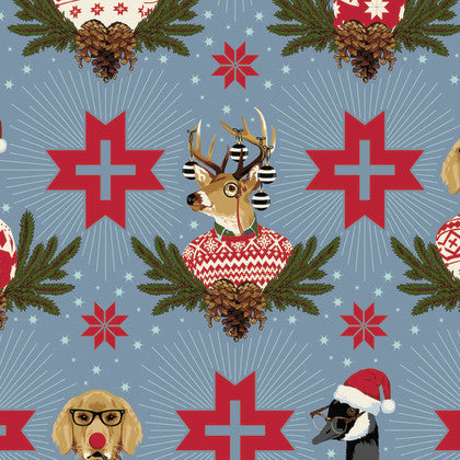 Tula Pink Holiday Homies - Buck Buck Goose Blue