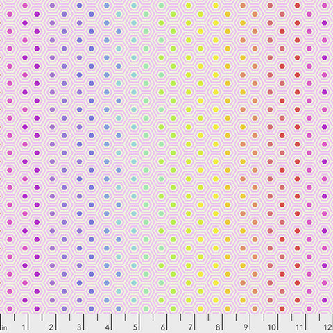 Tula Pink True Colors - Hexy Rainbow in Shell