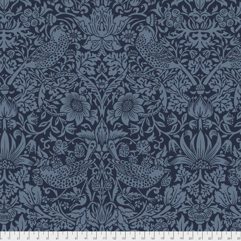 "William Morris Strawberry Thief 108"" wide Quilt Back in Navy"