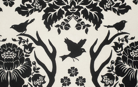 Birch Farm Sateen - Antler Damask - Black