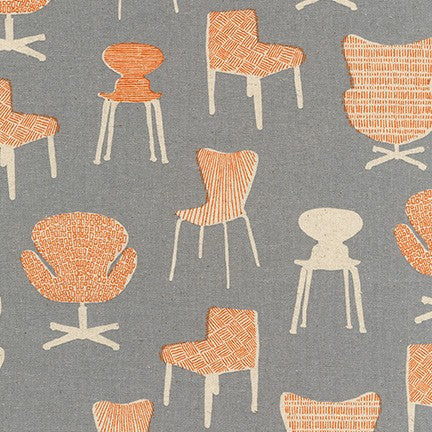Robert Kaufman Cotton/Flax Prints - Chairs in Grey