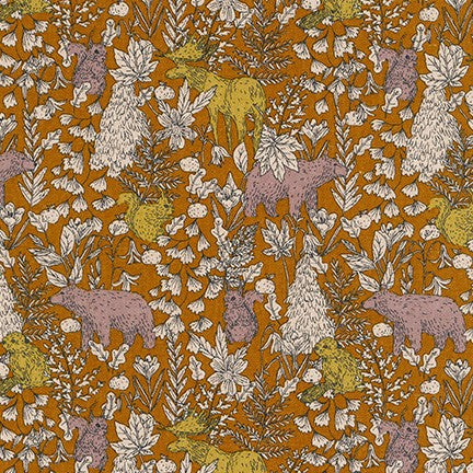 Robert Kaufman Cotton/Flax Prints - Woodland in Ochre