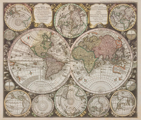 Vintage Blueprints - World Map in Parchment Panel