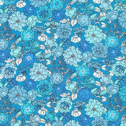 Robert Kaufman London Calling Cotton Lawn - Blue Jay