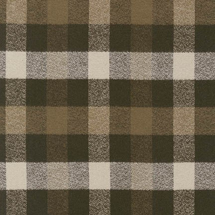 Robert Kaufman Mammoth Flannel - Olive Check
