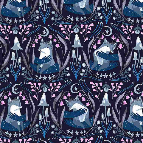 Rae Ritchie Lantern Light - Foxes in Indigo
