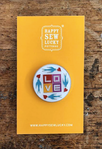 Happy Sew Lucky Pins - Love Swallows