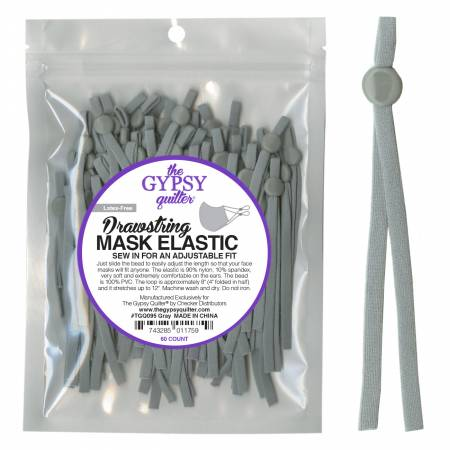 60 pack Drawstring Mask Elastic 8 inch - Grey