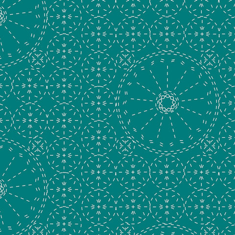 Wild Bloom by Bari J.- Sashiko Florette in Teal