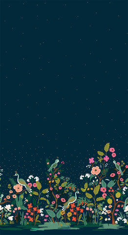 English Garden by Rifle Paper Co. - Growing Garden in Navy Metallic