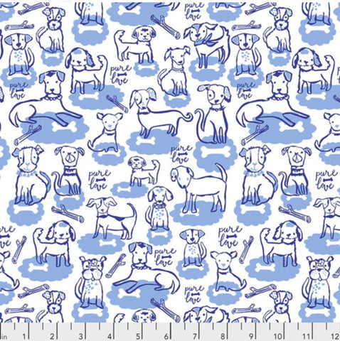 Woof and Wags by Kelli May-Krenz - Bone Clouds in Blue