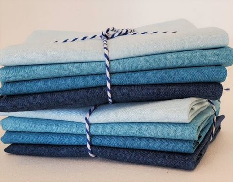 Designer Bundle - Linen Texture FQ Bundle 4 x FQ - Blues