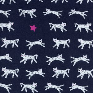 Cotton + Steel Hello Knits - Snow Leopard in Navy