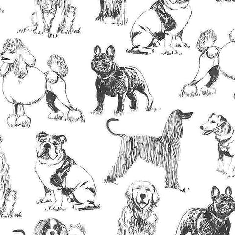 Timeless Treasures Pet Sketch - Realistic Dogs