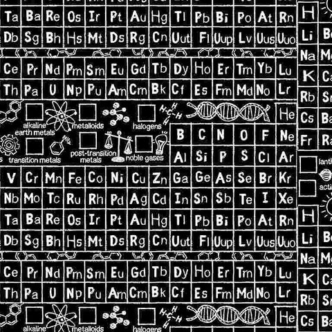 Timeless Treasures Math and Science - Periodic Table in Black