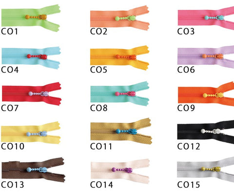 Colourful zippers 20 cm