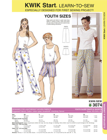 Kwik Sew Youth sleep pants and shorts pattern