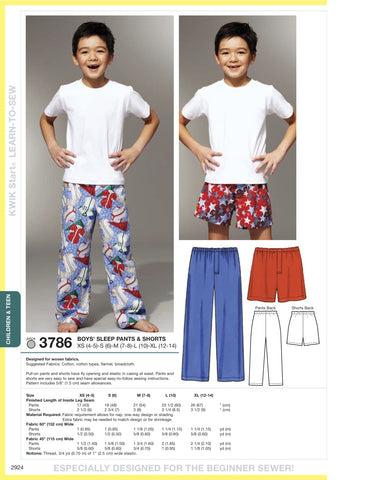 Kwik Sew Sleep pants and boxer shorts pattern