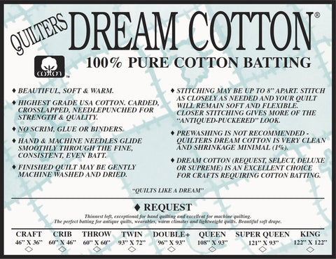 "Dream Cotton Batting - ""Request"" Throw Size"