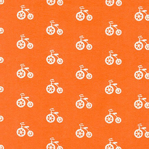 Robert Kaufman Cozy Cotton Flannel - Bicycles in Orange