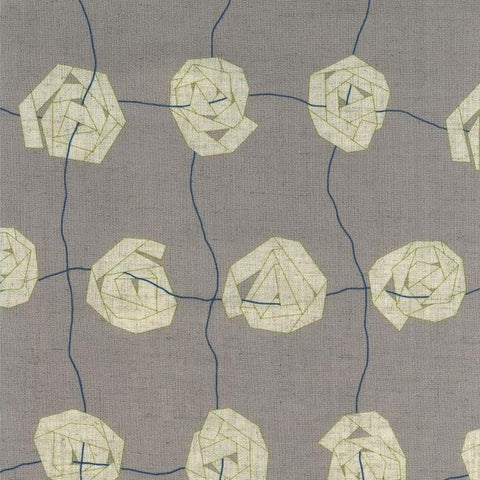 Kokka Rayon/Linen Canvas - Cocca Paper Flower on Grey