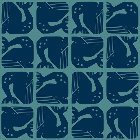 Loes van Ooosten for Cotton + Steel - By the Seaside - Grumpy Whale in Navy