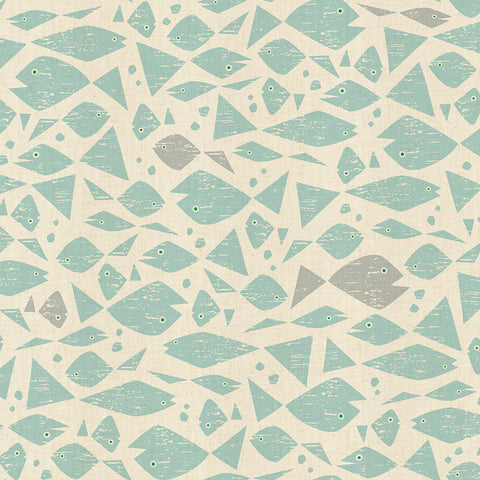 Loes van Ooosten for Cotton + Steel - By the Seaside - Happy Fish in Aqua