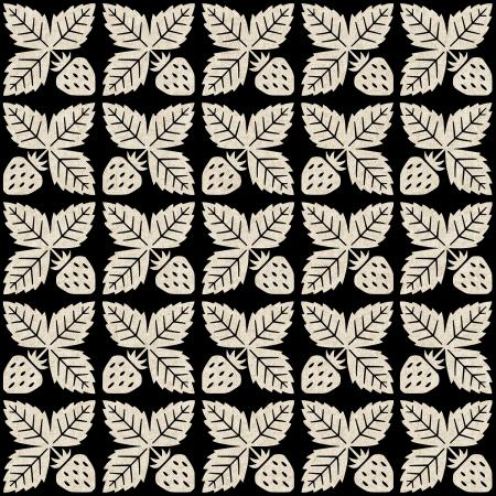 Cotton + Steel - Along The Fields - Strawberry Black Canvas Fabric